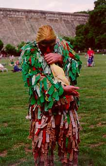 Ted (the Green Man) at the Mixed Morris Ale (1993?)
