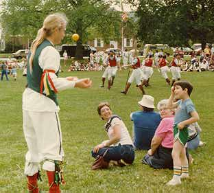 Ted juggling at the Mixed Morris Ale (1991?)